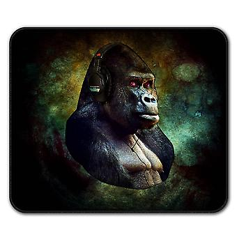 Gorilla Headphones Animal  Non-Slip Mouse Mat Pad 24cm x 20cm | Wellcoda