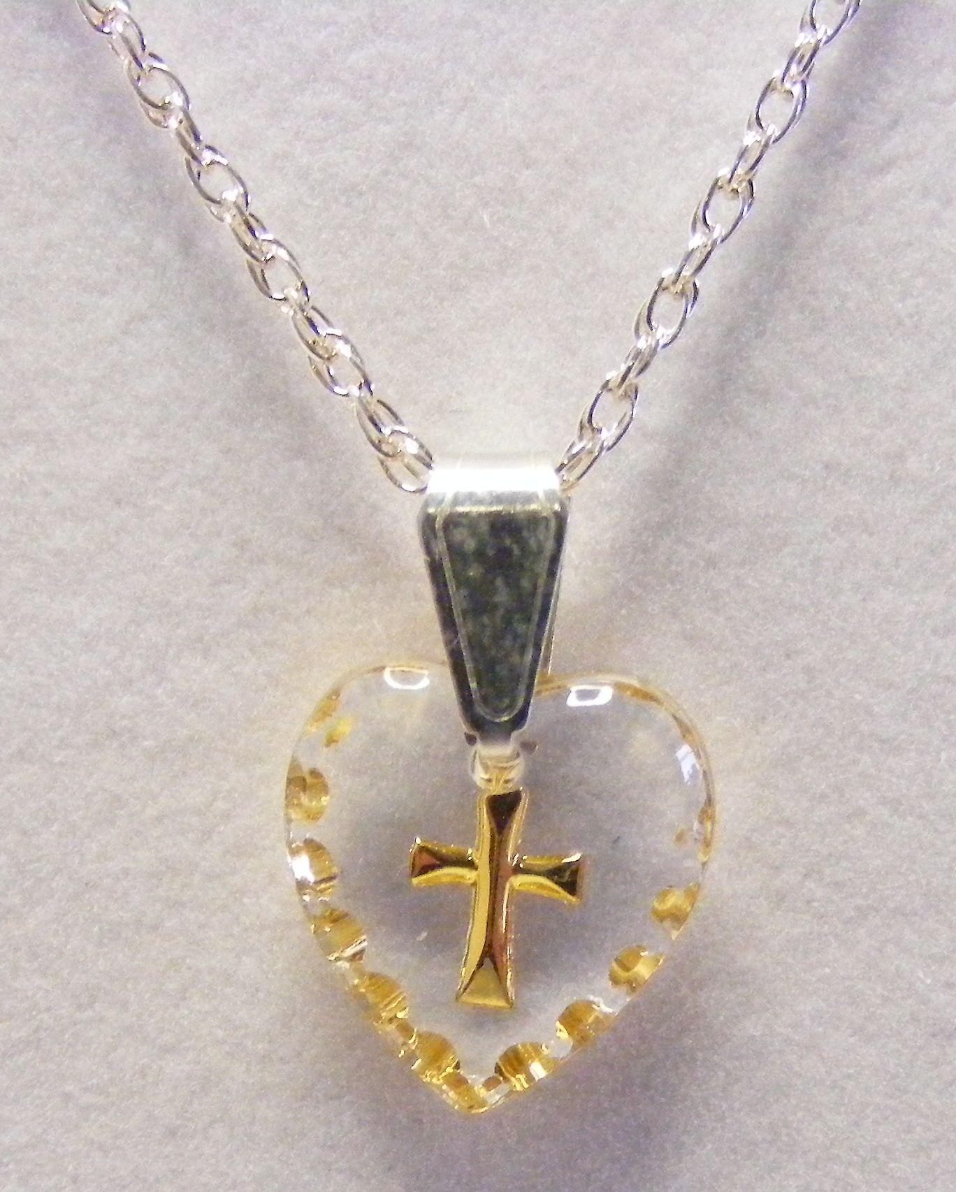 Hand Painted Mini Heart Shaped Cross Crystal Pendant