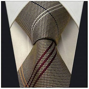 Scott Allan Mens Striped Necktie - Dark Khaki and Red Mens Tie