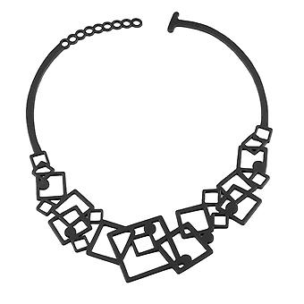 Geometric necklace in Silicone black tattoo effect
