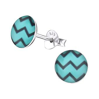 Wave - 925 Sterling Silver Colourful Ear Studs