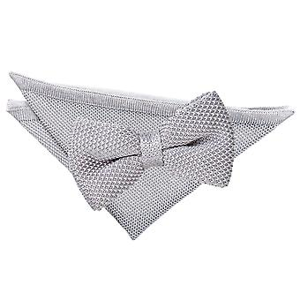 Silver Knitted Bow Tie & Pocket Square Set