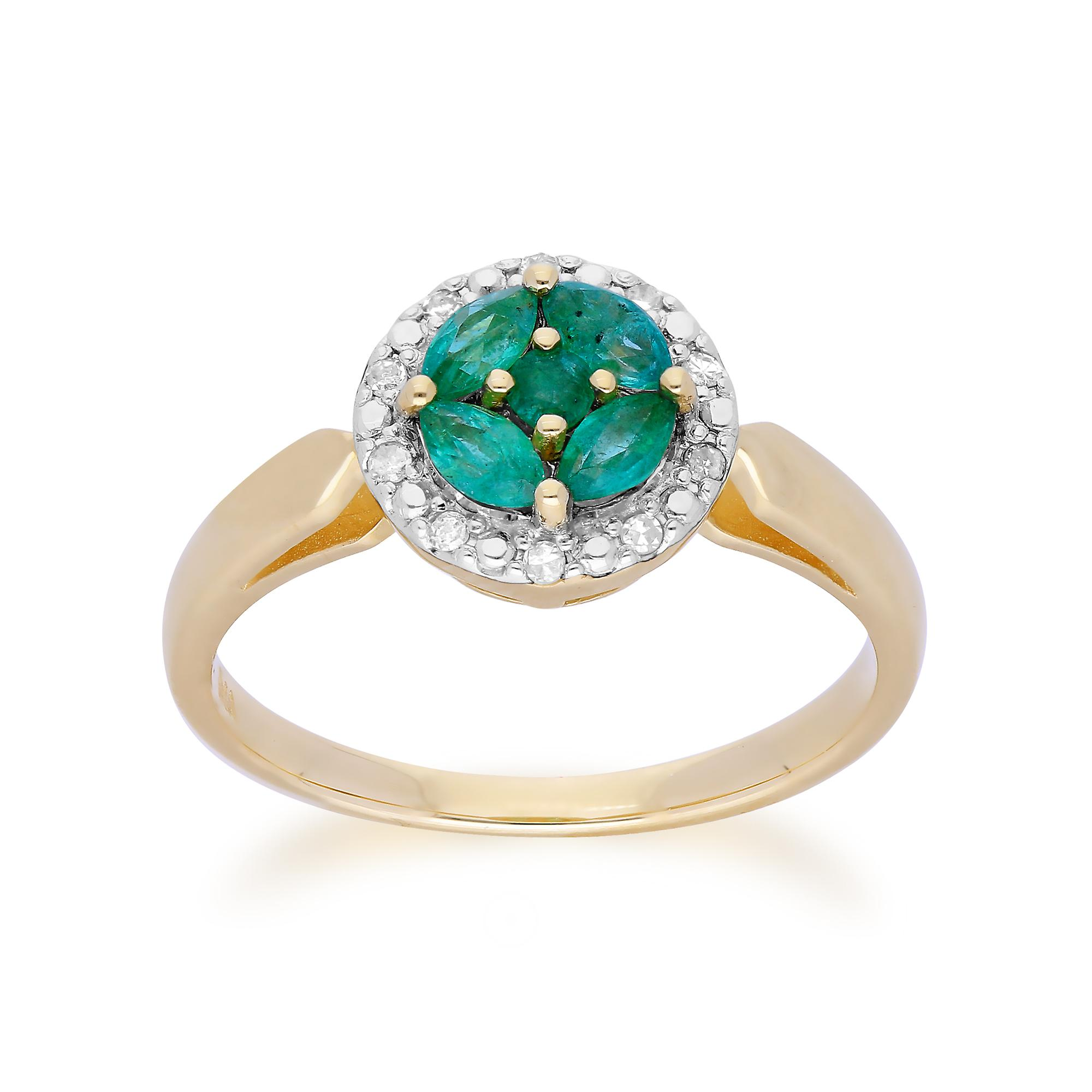 Gemondo 9ct jaune or Emerald Cluster and Diamond Halo Ring