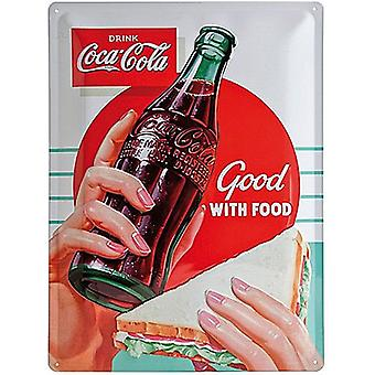 Coca Cola Good With Food Large Embossed Steel Sign 400Mm X 300Mm