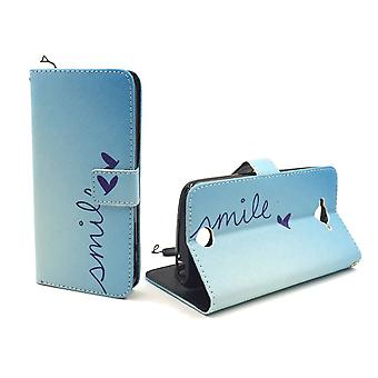 Mobile phone case pouch for mobile Acer liquid Z530 lettering smile Blau