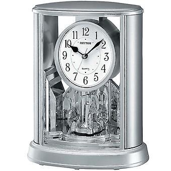 Tabel ur kvarts ur med roterende pendul rytme boliger sølv 24 x 20 cm