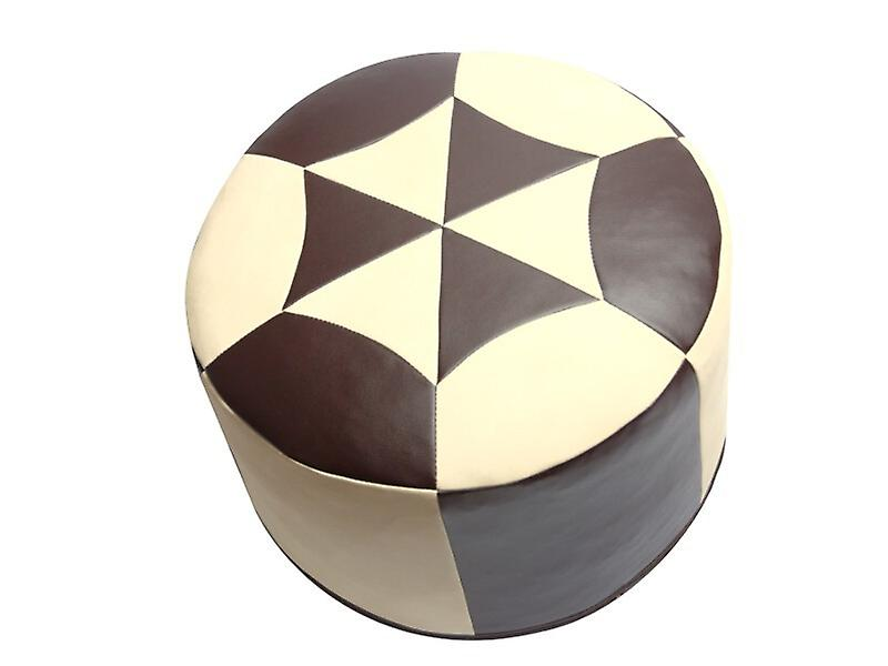 sitzkissen pouf orientkissen rund kunstleder dunkelbraun champagner breite 50 cm h he 34 cm. Black Bedroom Furniture Sets. Home Design Ideas
