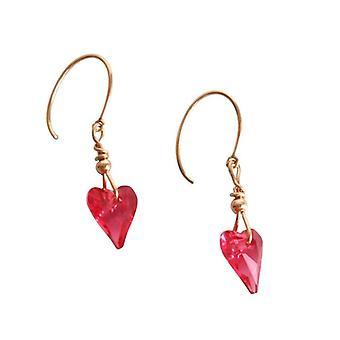 roze hart oorbellen roze INGA Crystal elementen gold plated oorbellen