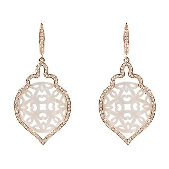 Rosegold Carved Teardrop Pearl Earring White Mother of Pearl