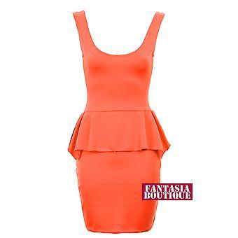 Ladies Sleevless U Neck Zip Shift Peplum Women's Bodycon Fitted Short Dress
