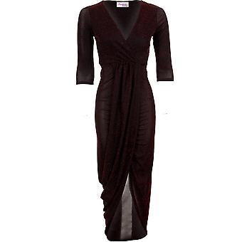 Ladies 3/4 Sleeve Sparkle Lurex Wrap V Neck Asymmetric Front Split Maxi Dress