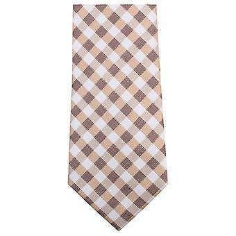 Knightsbridge Neckwear Checked Tie - Brown/White