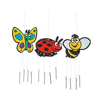 12 Paint Your Own Bug Themed Wood Wind Chimes | Kids Insect & Bug Crafts