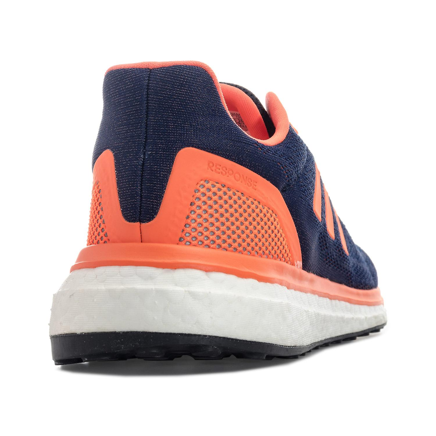 Mens adidas Response Running Shoes In Navy Orange