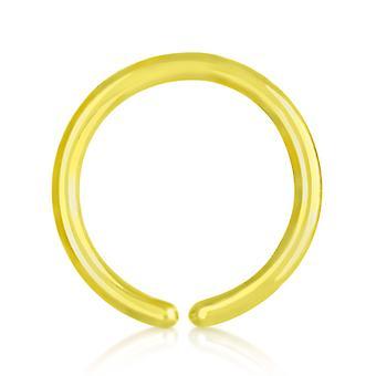 Näsa Hoop Ring guld pläterad Titan 0,8 mm, öppna näsa Hoop Ring | 6 - 10 mm
