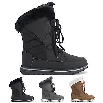 Womens Duck Waterproof Rain Snow Winter Fleece Lined Warm Mid Calf Boots UK 3-9