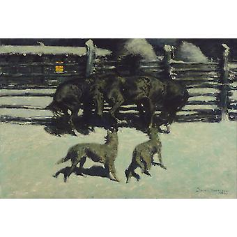 The Call for Help, Frederic Remington, 40x60cm with tray