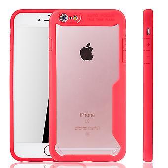 Rote Premium Apple iPhone 6 / iPhone 6s Hybrid-Editon Hülle | Unterstützt Kabelloses Laden | aus edlem Acryl mit weichem Silikonrand Rot