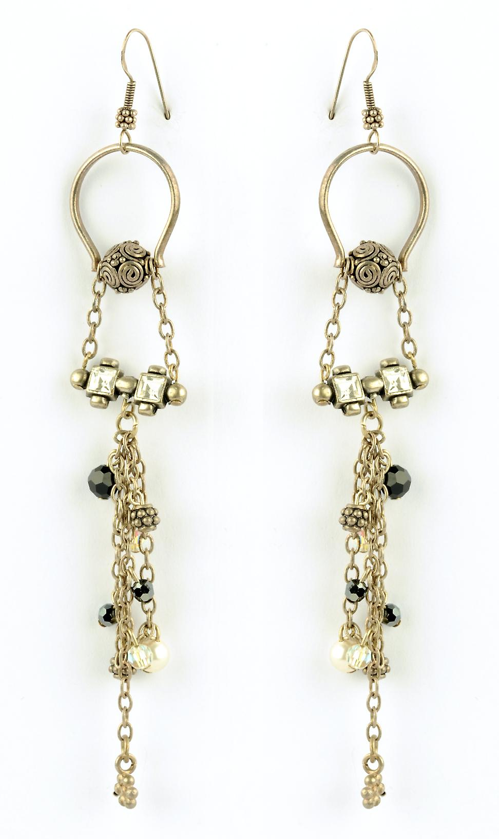 Waooh - Fashion Jewellery - WJ0790 - D'Oreille earrings with Swarovski Strass Black & White - Frame Colour Silver