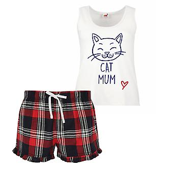 Cat Mum Ladies Tartan Frill Short Pyjama Set Red Blue or Green Blue