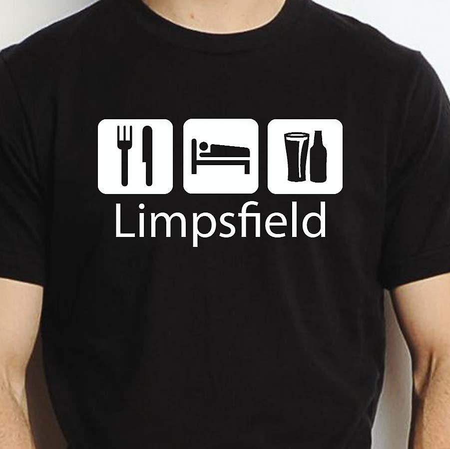 Eat Sleep Drink Limpsfield Black Hand Printed T shirt Limpsfield Town