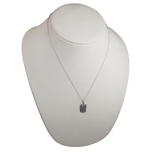 Silver 18x12mm hand engraved garnet set cut corner rectangular Disc with a rolo Chain 20 inches