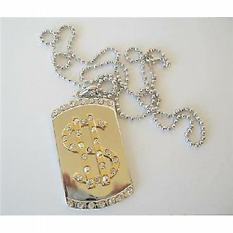 Bling $ Dollar Sign Diamond Dog Tag Pendant 28 inches Long