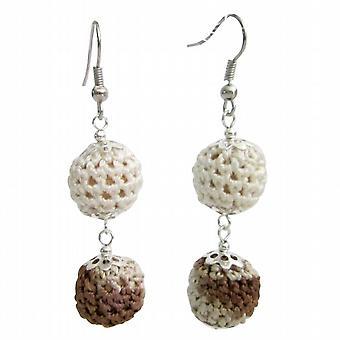 Crochet Earring Collective Design Combo Brown & Ivory Crochet Beads