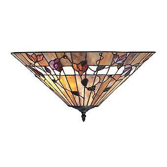Bernwood medio estilo Tiffany dos luz rasante luminaria de techo - interiores 63948 1900
