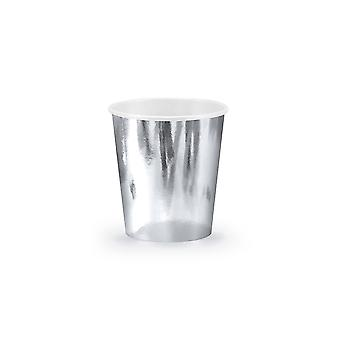 6 Metallic Silver Paper Party Cups - 180ml | Kids Party Cups