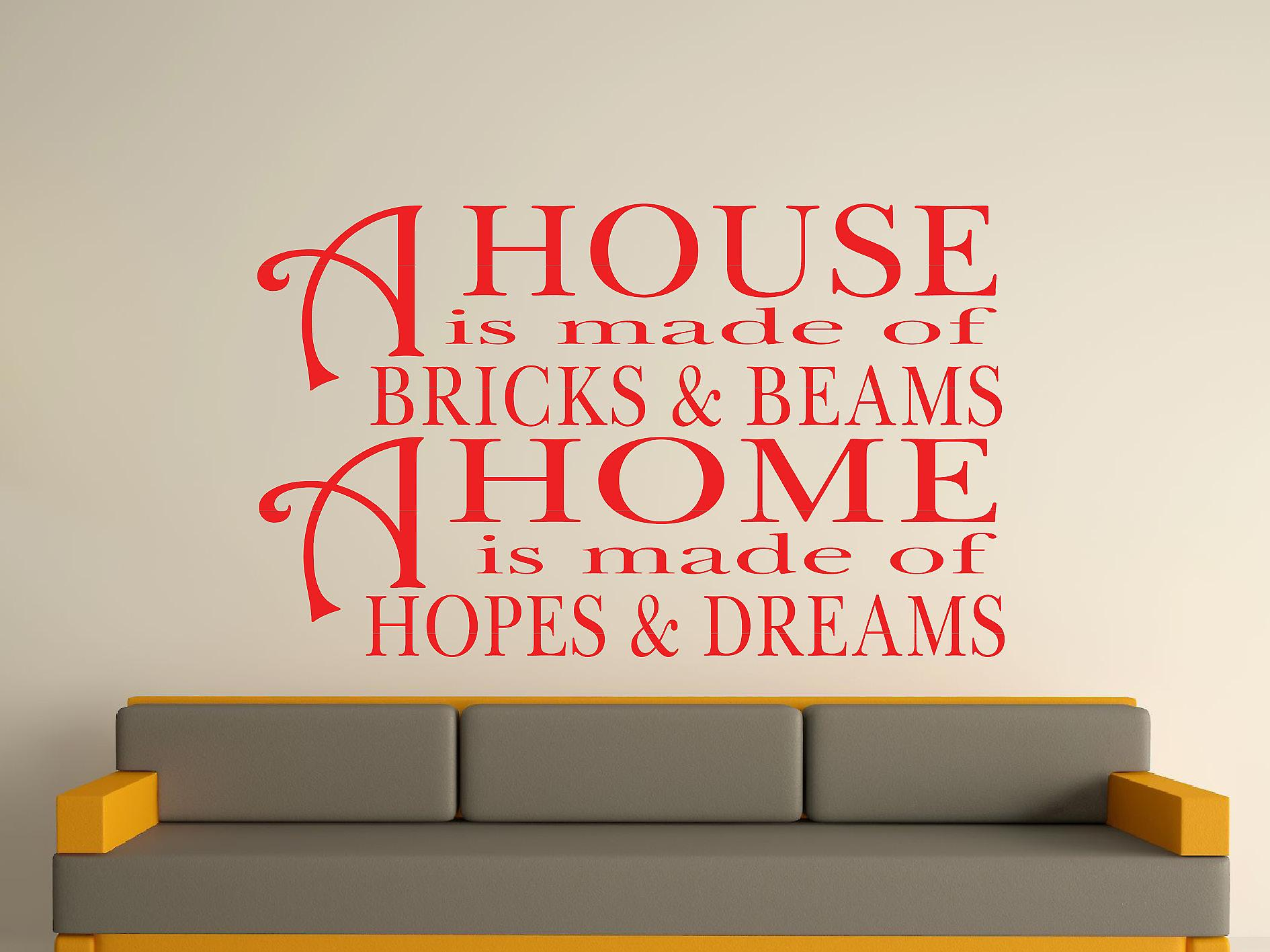 A House Is Made Of Bricks And Beams v2 Wall Art Sticker - Tomato Red