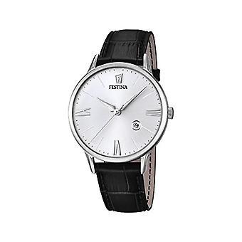 Festina F16824/1 men's quartz watch, White Dial, black leather strap analog display