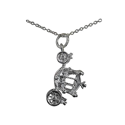 Silver 15x22mm Coronation Coach Pendant with a rolo Chain 14 inches Only Suitable for Children