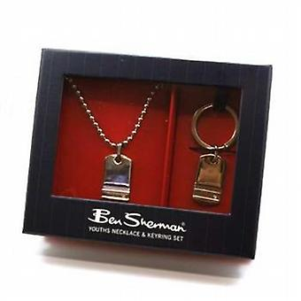 Ben Sherman Youth - Boys Reversible Dog Tag Pendant and Keyring Gift Set