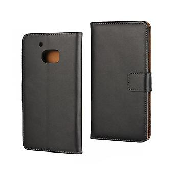 Wallet cover HTC One A9, genuine leather, black