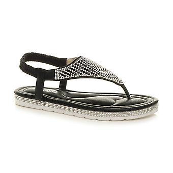 Ajvani Womens flatform toe post t-bar diamante comfort slingback sandals