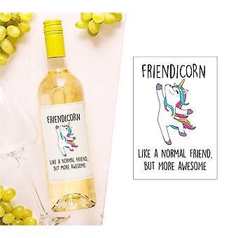 Friendicorn vinflaske etikett