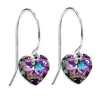 Ah! Jewellery 10mm Vitrail Light Crystals From Swarovski Fish Hook Earrings. Sterling Silver, Stamped 925
