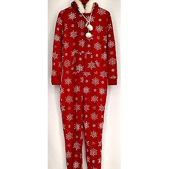 Bethany Mota Jr Jumpsuits Zip Front Hooded Snowflake Print Red A273797