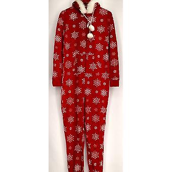 Bethany Mota Jr jumpsuits zip front hætteklædte snefnug print rød A273797