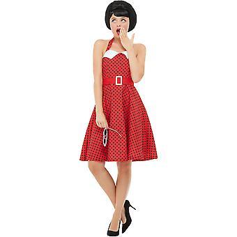 50er Jahre Rockabilly Pin Up Kostüm Rot mit Neckholder Swing Kleid