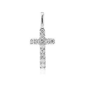 Jewelco London Ladies 9ct White Gold Round Brilliant Claw Set Diamond Cross Pendant - 6x13mm