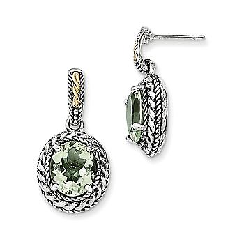 925 Sterling Silver With 14k Antiqued Green Quartz Post Dangle Earrings - 6.70 cwt