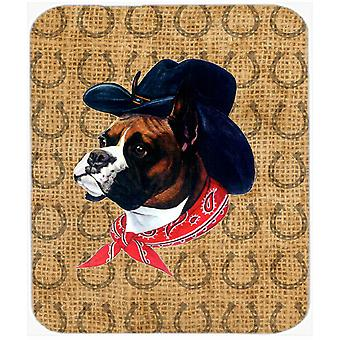 Boxer Dog Country Lucky Horseshoe Mouse Pad, Hot Pad or Trivet