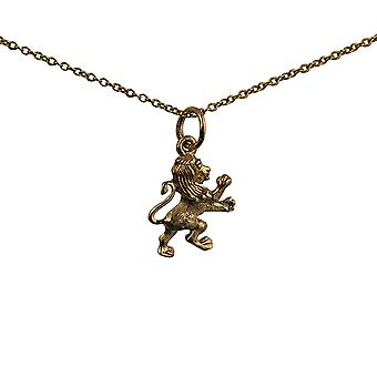 9ct Gold 15x13mm Rampant Lion Pendant with a cable Chain 16 inches Only Suitable for Children
