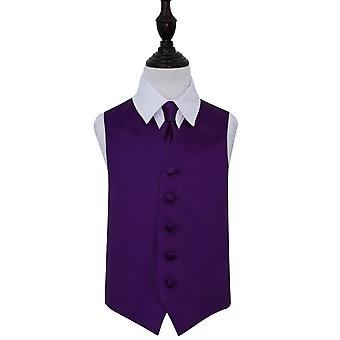 Boy's Purple Plain satijn bruiloft gilet & stropdas Set