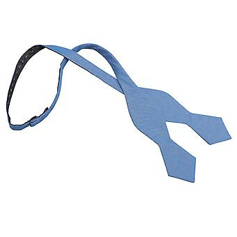 Parisian Blue Chambray Cotton Pointed Self Tie Bow Tie