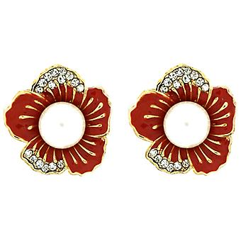 Clip On Earrings Store Orange Enamel, Crystal & Pearl Flower Clip On Earrings