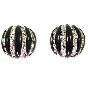Kenneth Jay Lane Large Black, Silver & Crystal Button Clip On Earrings