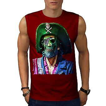 Pirate Skull Metal Funny Men Red Sleeveless T-shirt | Wellcoda